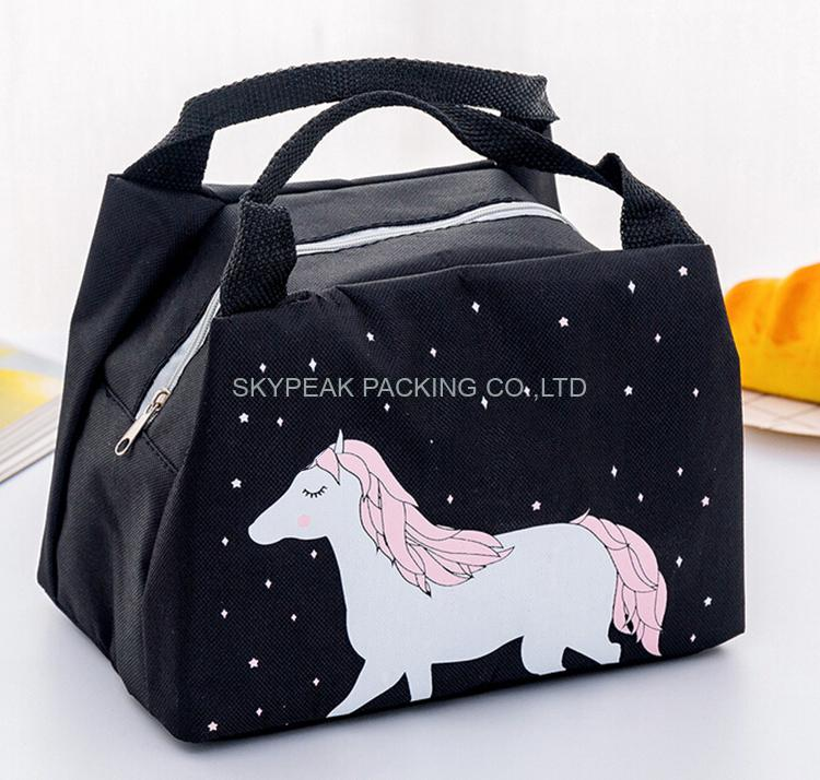 Custom Logo Oxford Cloth Aluminum Foil Tote Insulated Cooler Bag Meal Lunch Bag For Kids-2